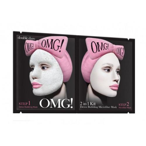 "Детокс-маска двухкомпонентная  Omg! 2in1 Kit Detox Bubbling Microfiber Mask для глубокого очищения и питания 1 шт ""Double Dare"""