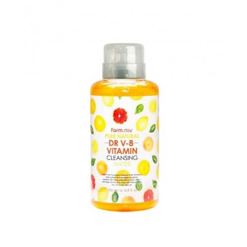 "Очищающая вода DR V-8 с витаминами 500 мл ""Farm Stay"""