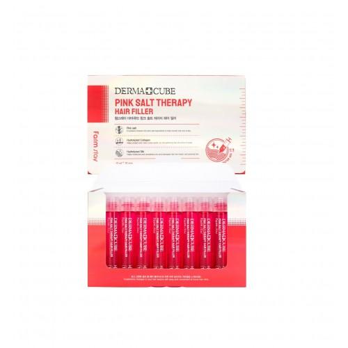 "Маска-филлер для волос 13мл*10шт Derma Cube Pink Salt Therapy Hair Filler ""Farm Stay"""