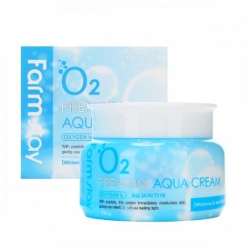 """Увлажняющий крем для лица с кислородом O2 Premium Aqua Cream 100г """"FARM STAY"""""""