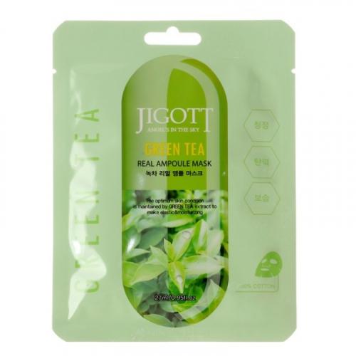 """Маска тканевая ампульная с зеленым чаем Green Tea Real Ampoule Mask 27 мл """" Jigott"""""""